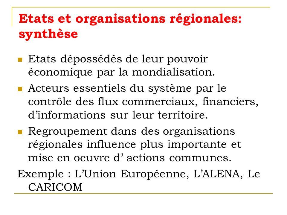 Etats et organisations régionales: synthèse Etats dépossédés de leur pouvoir économique par la mondialisation. Acteurs essentiels du système par le co