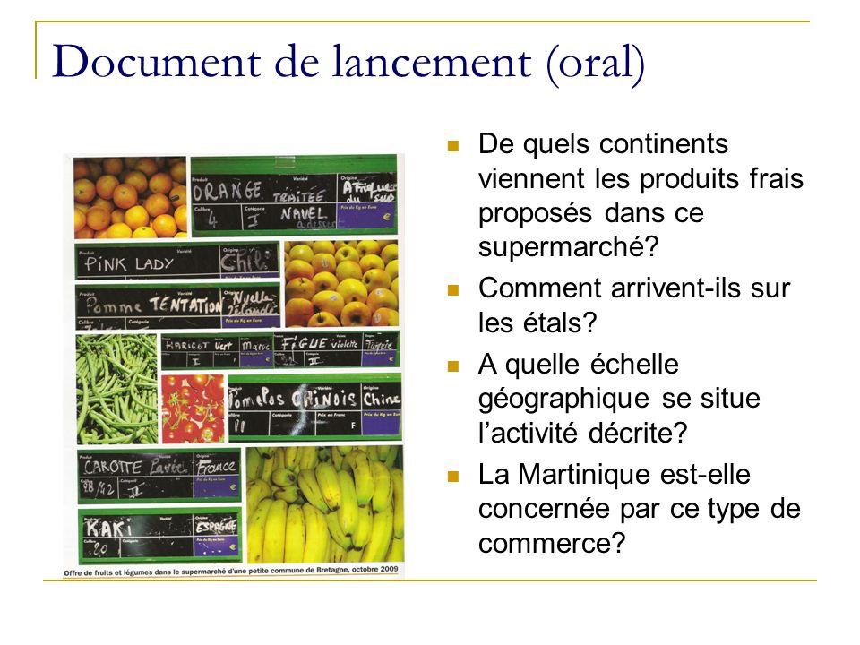 Document de lancement (oral) De quels continents viennent les produits frais proposés dans ce supermarché? Comment arrivent-ils sur les étals? A quell