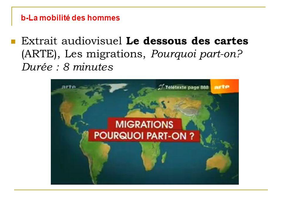 b-La mobilité des hommes Extrait audiovisuel Le dessous des cartes (ARTE), Les migrations, Pourquoi part-on? Durée : 8 minutes