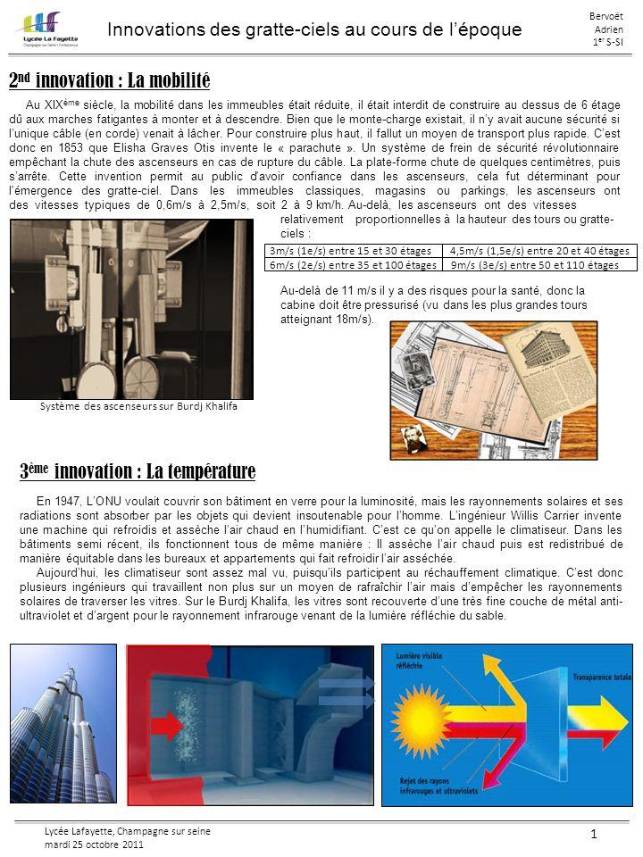 Lycée Lafayette, Champagne sur seine mardi 25 octobre 2011 1 Innovations des gratte-ciels au cours de lépoque Bervoët Adrien 1 er S-SI 5 ème innovation : La construction Lune des plus belle construction du monde est sans doute la tour Eiffel, elle fut construite comme un pont vertical.