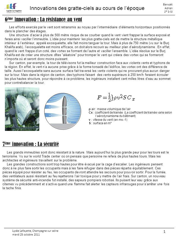 Lycée Lafayette, Champagne sur seine mardi 25 octobre 2011 1 Conclusion : Les fondations, la mobilité, les matériaux, la température, la construction, le vent et la sécurité sont les 7 points les plus important pour pouvoir aboutir au plus haut bâtiments.