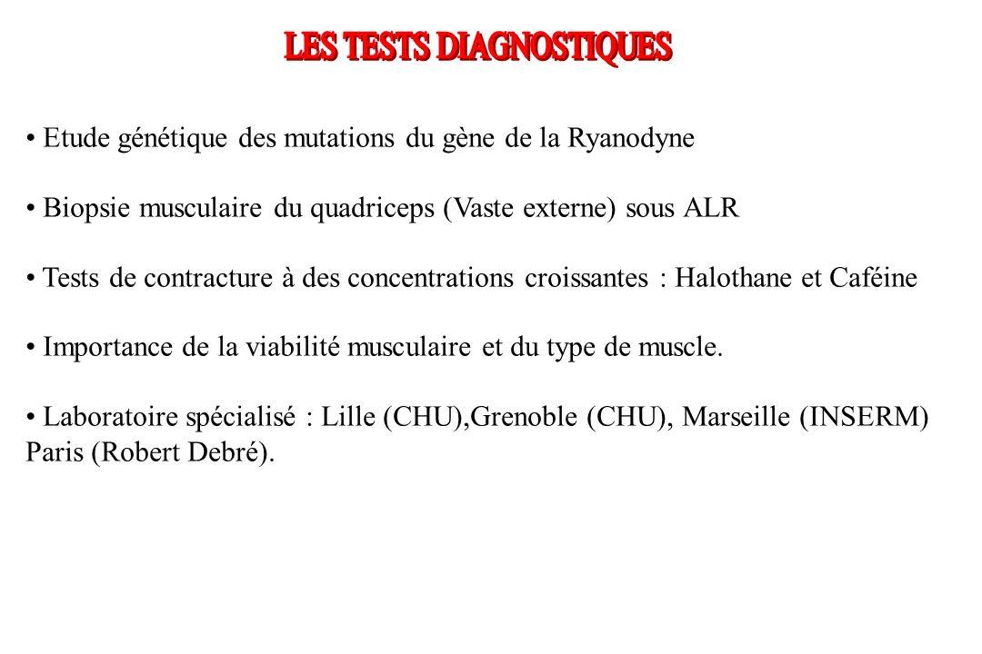 Etude génétique des mutations du gène de la Ryanodyne Biopsie musculaire du quadriceps (Vaste externe) sous ALR Tests de contracture à des concentrati