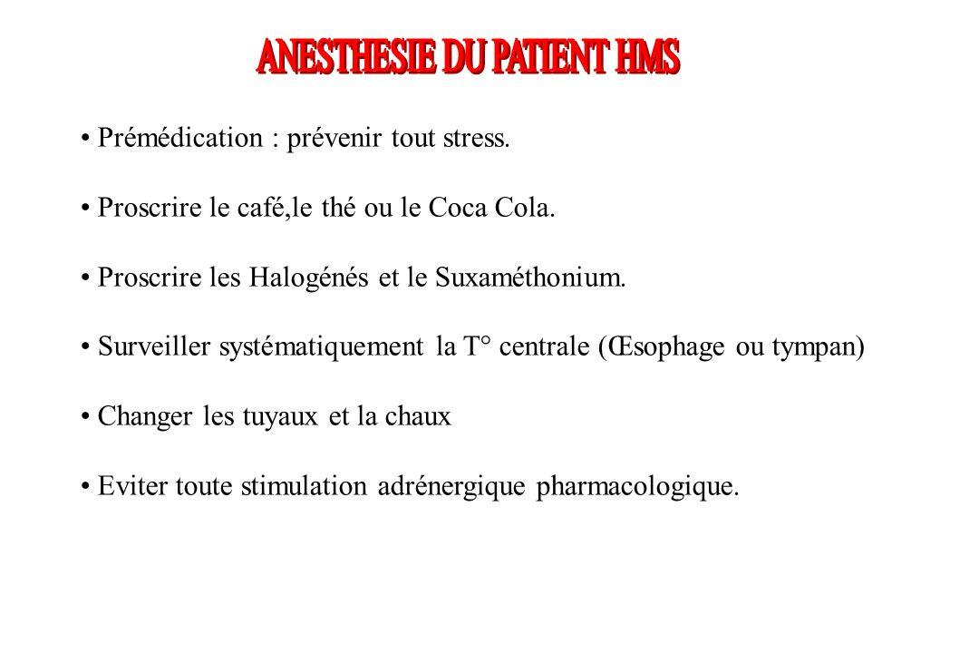 Prémédication : prévenir tout stress. Proscrire le café,le thé ou le Coca Cola. Proscrire les Halogénés et le Suxaméthonium. Surveiller systématiqueme