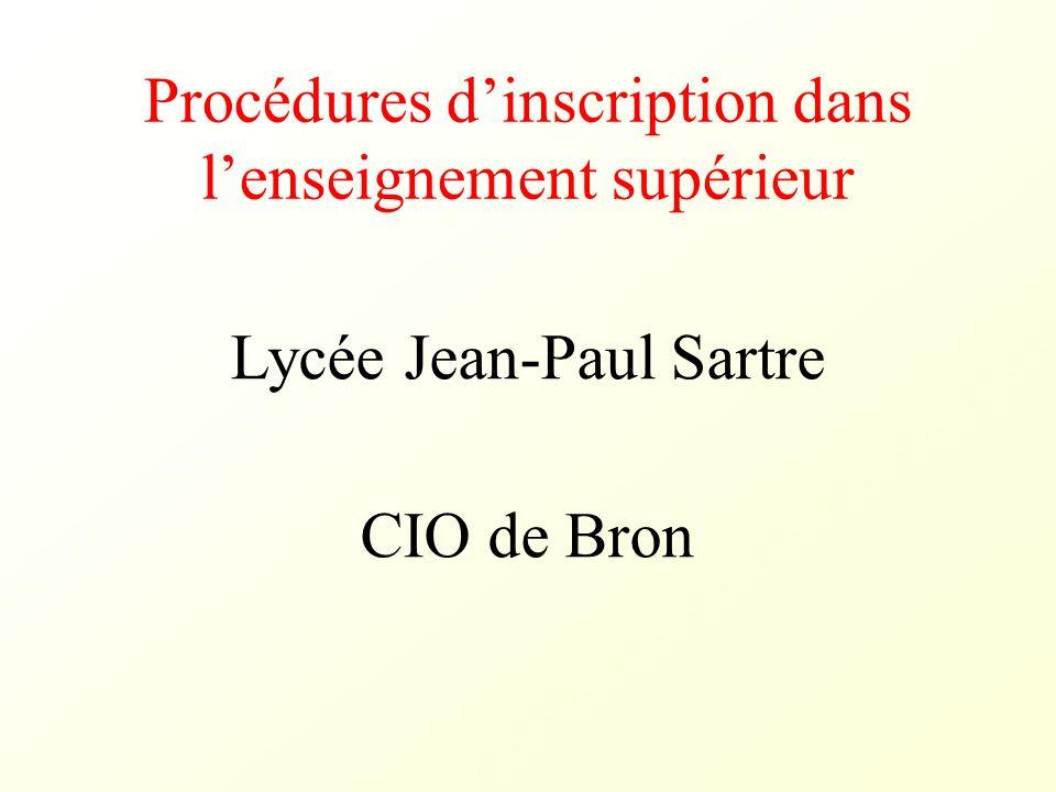 Procédures dinscription dans lenseignement supérieur Lycée Jean-Paul Sartre CIO de Bron