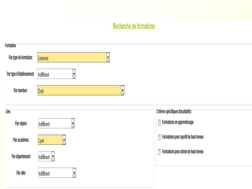 FORMATIONS APB dans lAcadémie de Lyon A LUNIVERSITE : 1 ère année de licence : L1 (dont la 1 ère année commune aux études de santé, le lieu indiqué est le siège administratif de Lyon 1, à Villeurbanne) DUT, DEUST AUP ( année université préparatoire ) DCG (diplôme de comptabilité gestion ) PCPM (Année préparatoire aux concours paramédicaux : Lyon1, St Etienne, Roanne) Cycles préparatoires en Université pour lentrée en écoles dingénieurs ( Lyon1, St Etienne )