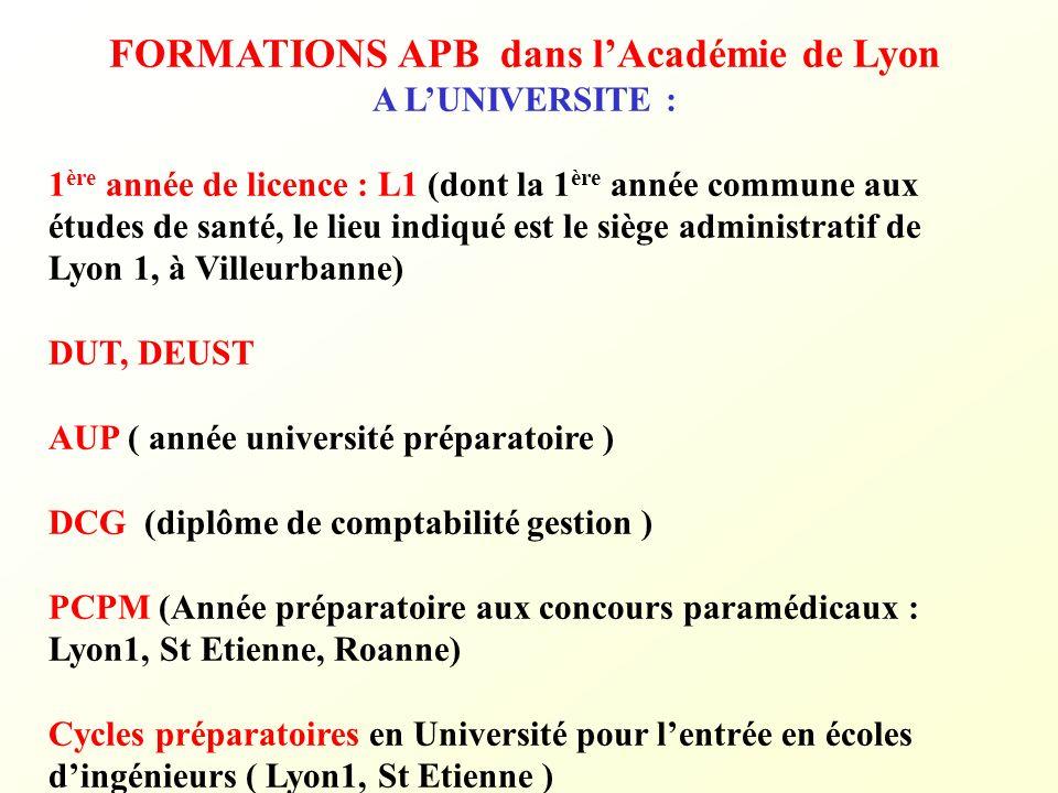 FORMATIONS APB dans lAcadémie de Lyon A LUNIVERSITE : 1 ère année de licence : L1 (dont la 1 ère année commune aux études de santé, le lieu indiqué es