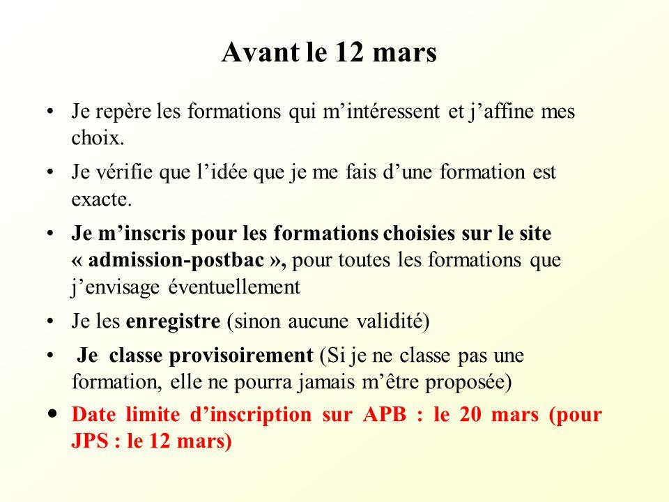 Entre le 20 janvier et le 2 avril Je valide mes candidatures quand je suis sûr de mes choix (possible jusquau 2 avril).