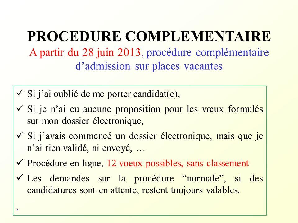 PROCEDURE COMPLEMENTAIRE A partir du 28 juin 2013, procédure complémentaire dadmission sur places vacantes Si jai oublié de me porter candidat(e), Si