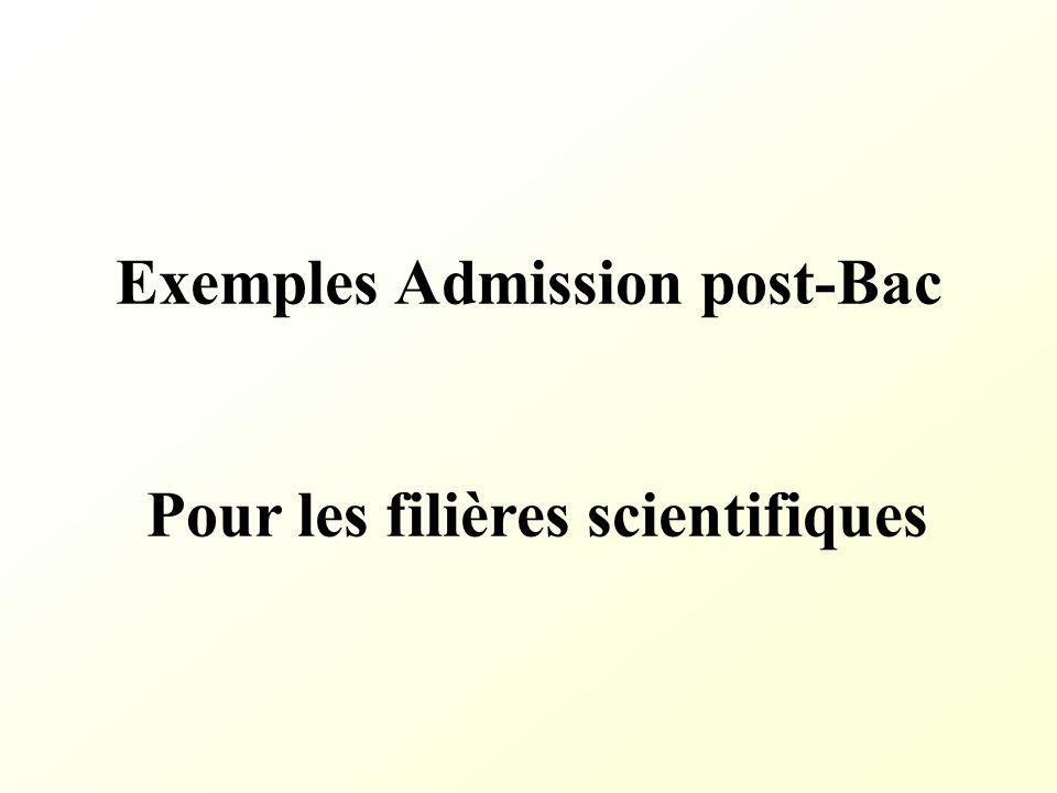 Exemples Admission post-Bac Pour les filières scientifiques