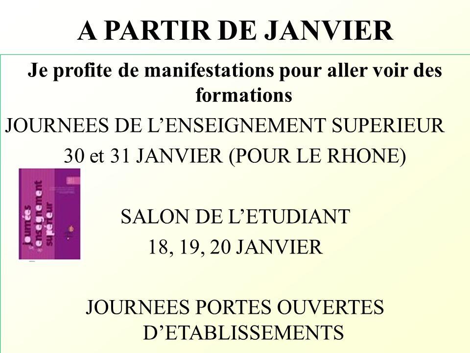 A PARTIR DE JANVIER Je profite de manifestations pour aller voir des formations JOURNEES DE LENSEIGNEMENT SUPERIEUR 30 et 31 JANVIER (POUR LE RHONE) S
