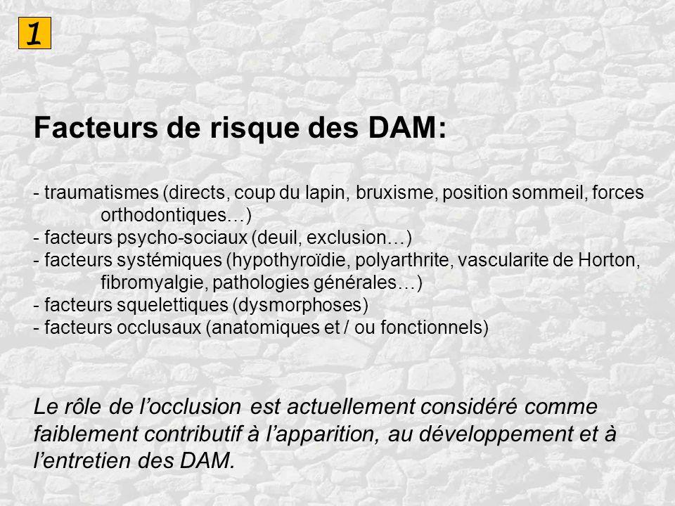 1 Facteurs de risque des DAM: - traumatismes (directs, coup du lapin, bruxisme, position sommeil, forces orthodontiques…) - facteurs psycho-sociaux (d