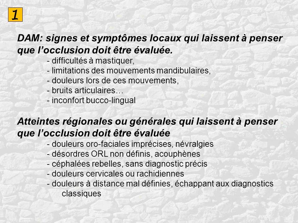 1 DAM: signes et symptômes locaux qui laissent à penser que locclusion doit être évaluée. - difficultés à mastiquer, - limitations des mouvements mand