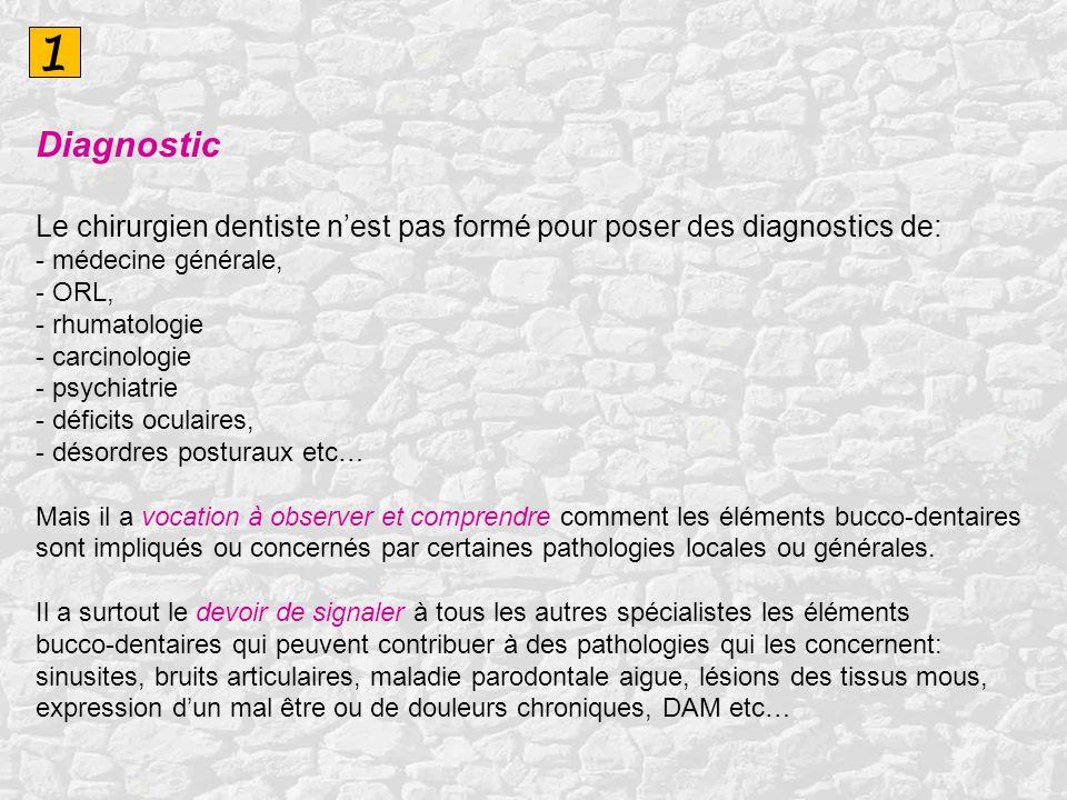 1 Diagnostic Le chirurgien dentiste nest pas formé pour poser des diagnostics de: - médecine générale, - ORL, - rhumatologie - carcinologie - psychiat