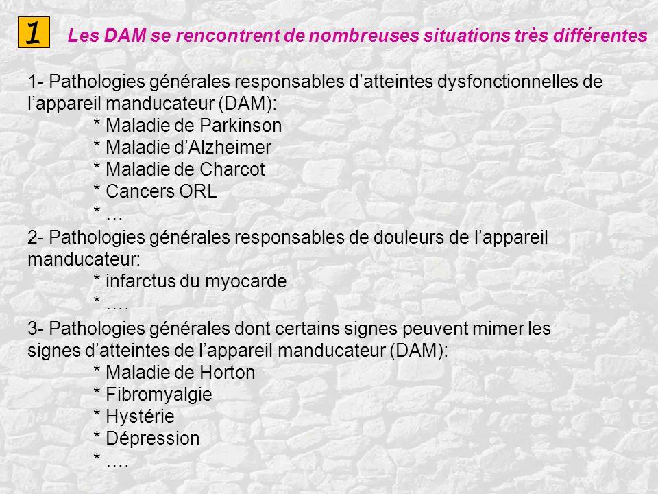 1 1- Pathologies générales responsables datteintes dysfonctionnelles de lappareil manducateur (DAM): * Maladie de Parkinson * Maladie dAlzheimer * Mal