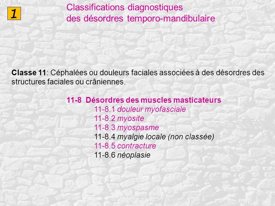 1 Classifications diagnostiques des désordres temporo-mandibulaire Classe 11: Céphalées ou douleurs faciales associées à des désordres des structures