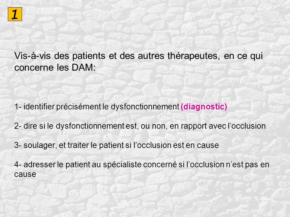 1 Vis-à-vis des patients et des autres thérapeutes, en ce qui concerne les DAM: 1- identifier précisément le dysfonctionnement (diagnostic) 2- dire si