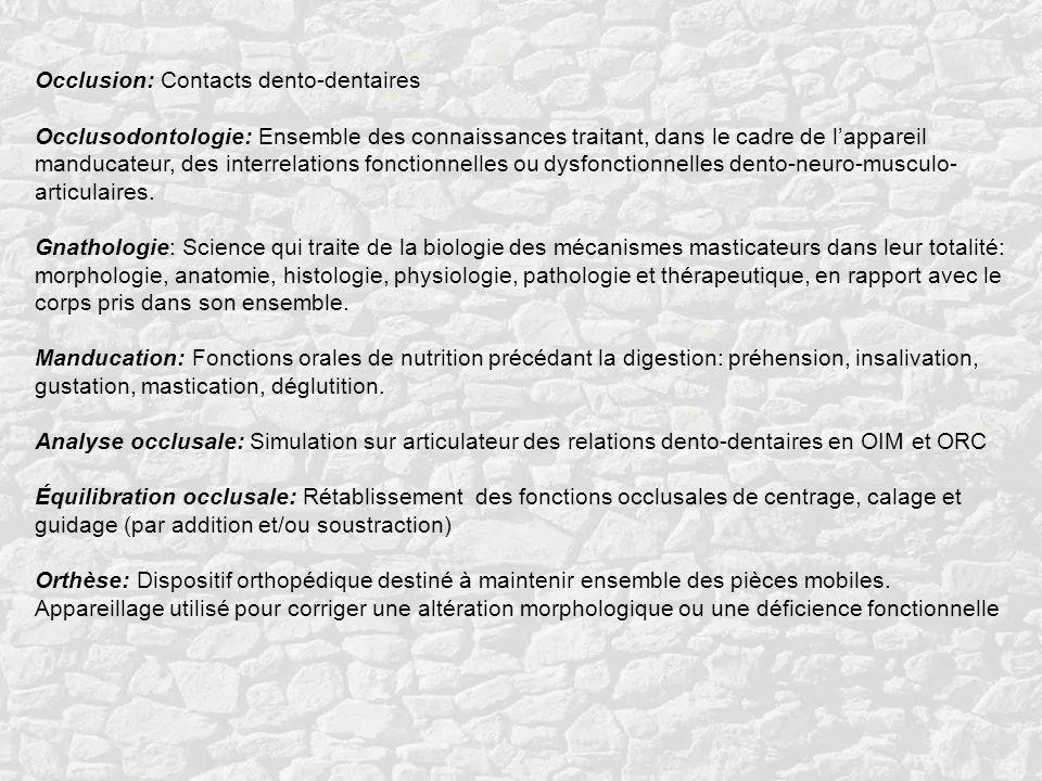 Occlusion: Contacts dento-dentaires Occlusodontologie: Ensemble des connaissances traitant, dans le cadre de lappareil manducateur, des interrelations