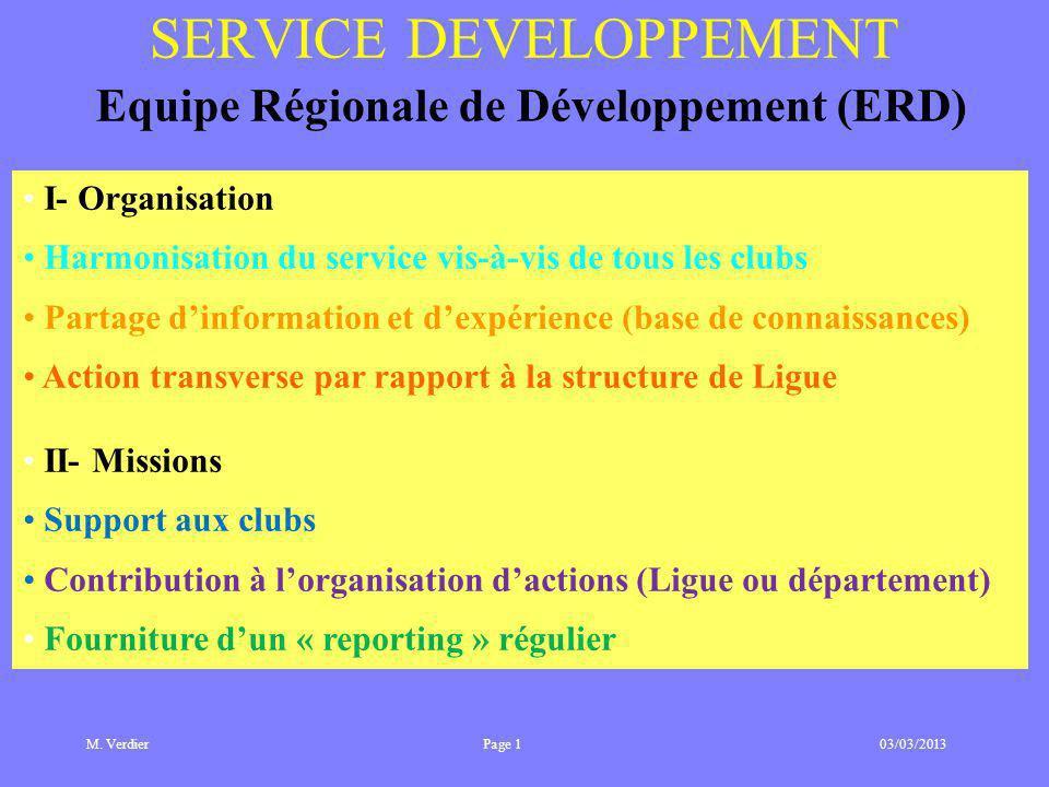 M. Verdier 03/03/2013 SERVICE DEVELOPPEMENT Equipe Régionale de Développement (ERD) I- Organisation Harmonisation du service vis-à-vis de tous les clu