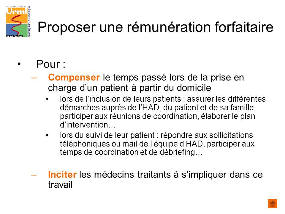 Proposer une rémunération forfaitaire Pour : –Compenser le temps passé lors de la prise en charge dun patient à partir du domicile lors de linclusion