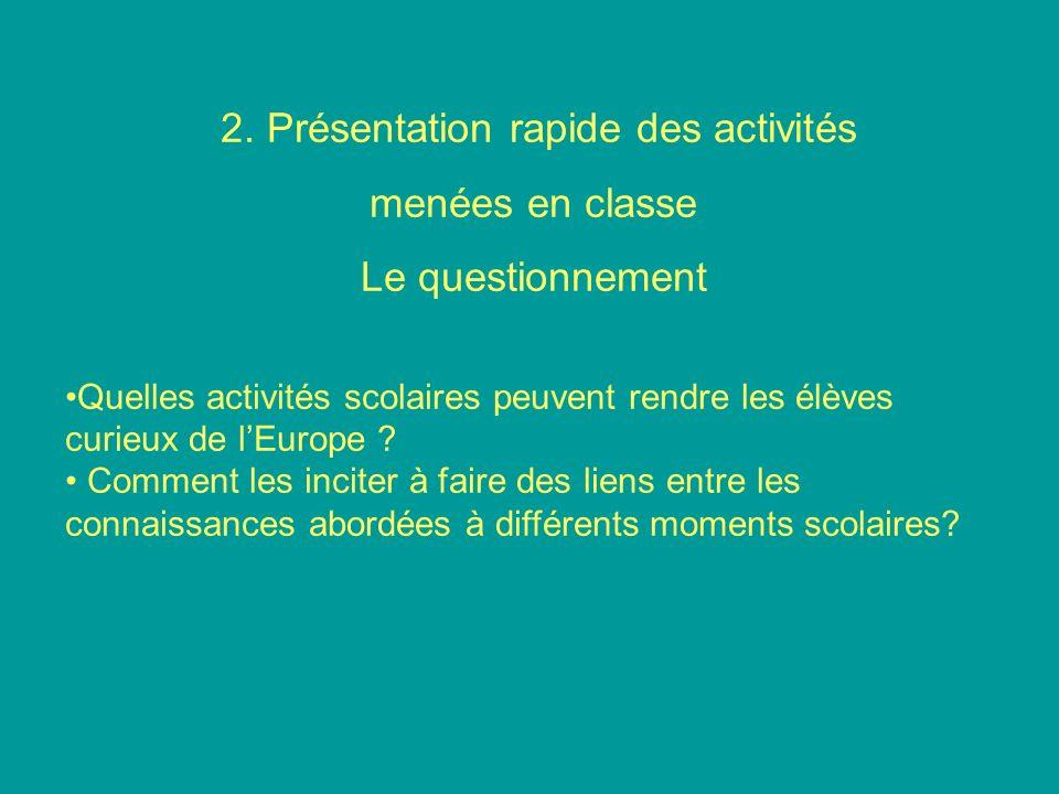 2. Présentation rapide des activités menées en classe Le questionnement Quelles activités scolaires peuvent rendre les élèves curieux de lEurope ? Com