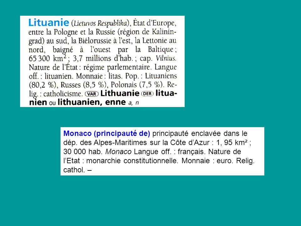 Monaco (principauté de) principauté enclavée dans le dép. des Alpes-Maritimes sur la Côte dAzur : 1, 95 km² ; 30 000 hab. Monaco Langue off. : françai