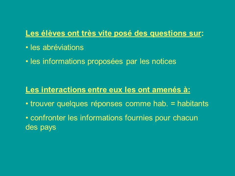 Les élèves ont très vite posé des questions sur: les abréviations les informations proposées par les notices Les interactions entre eux les ont amenés