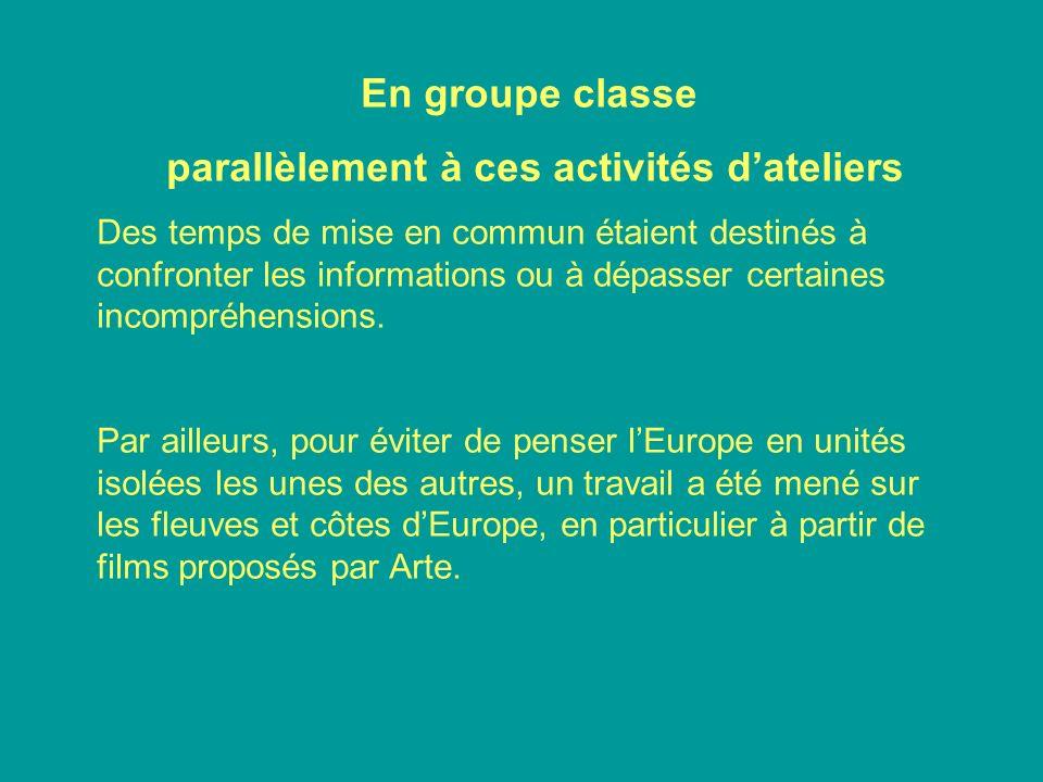 En groupe classe parallèlement à ces activités dateliers Des temps de mise en commun étaient destinés à confronter les informations ou à dépasser cert
