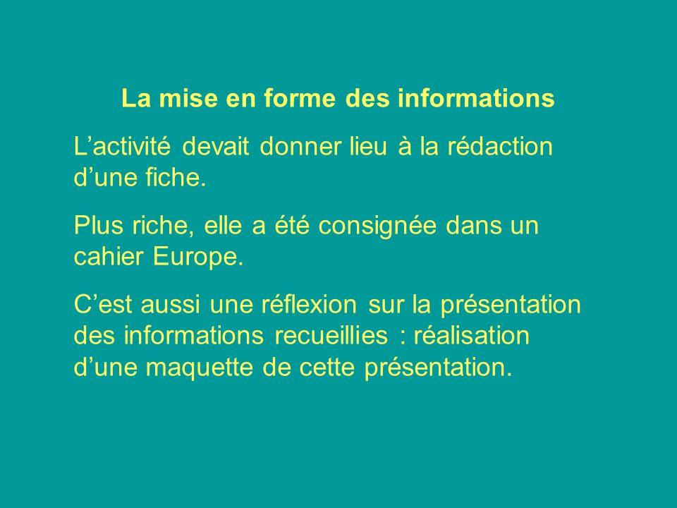 La mise en forme des informations Lactivité devait donner lieu à la rédaction dune fiche. Plus riche, elle a été consignée dans un cahier Europe. Cest