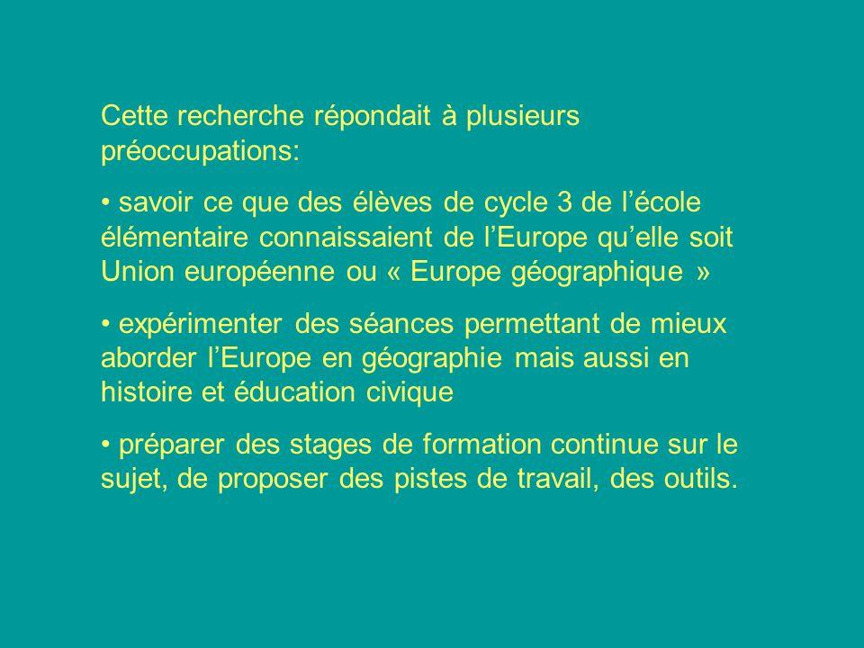Cette recherche répondait à plusieurs préoccupations: savoir ce que des élèves de cycle 3 de lécole élémentaire connaissaient de lEurope quelle soit U