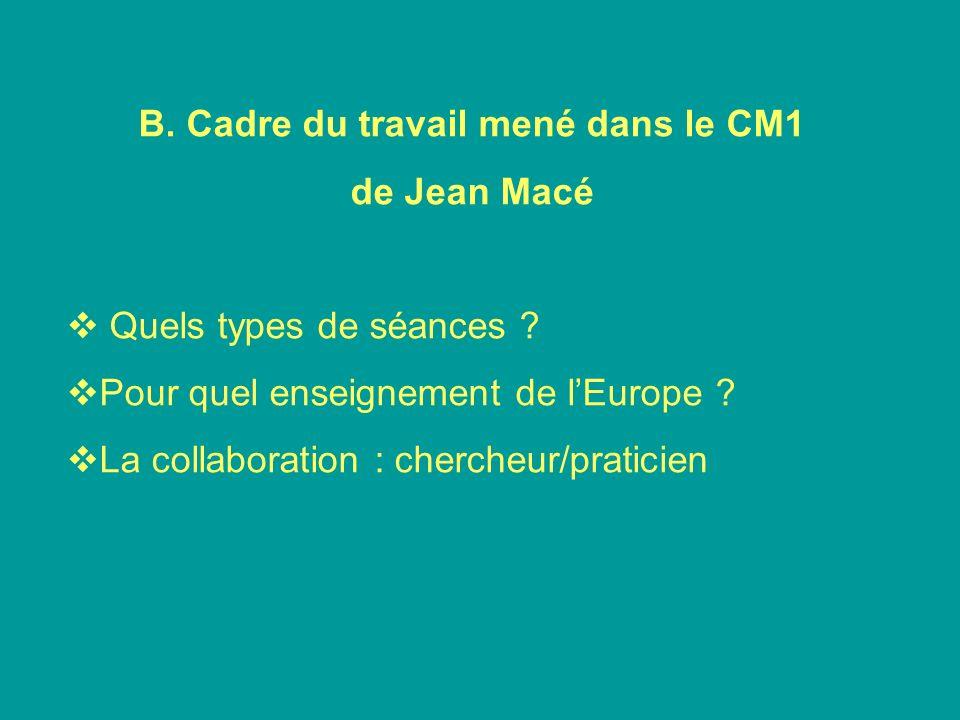 B. Cadre du travail mené dans le CM1 de Jean Macé Quels types de séances ? Pour quel enseignement de lEurope ? La collaboration : chercheur/praticien