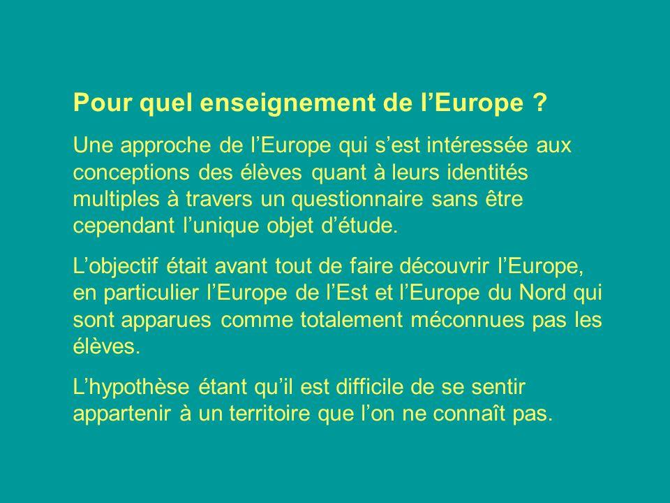 Pour quel enseignement de lEurope ? Une approche de lEurope qui sest intéressée aux conceptions des élèves quant à leurs identités multiples à travers