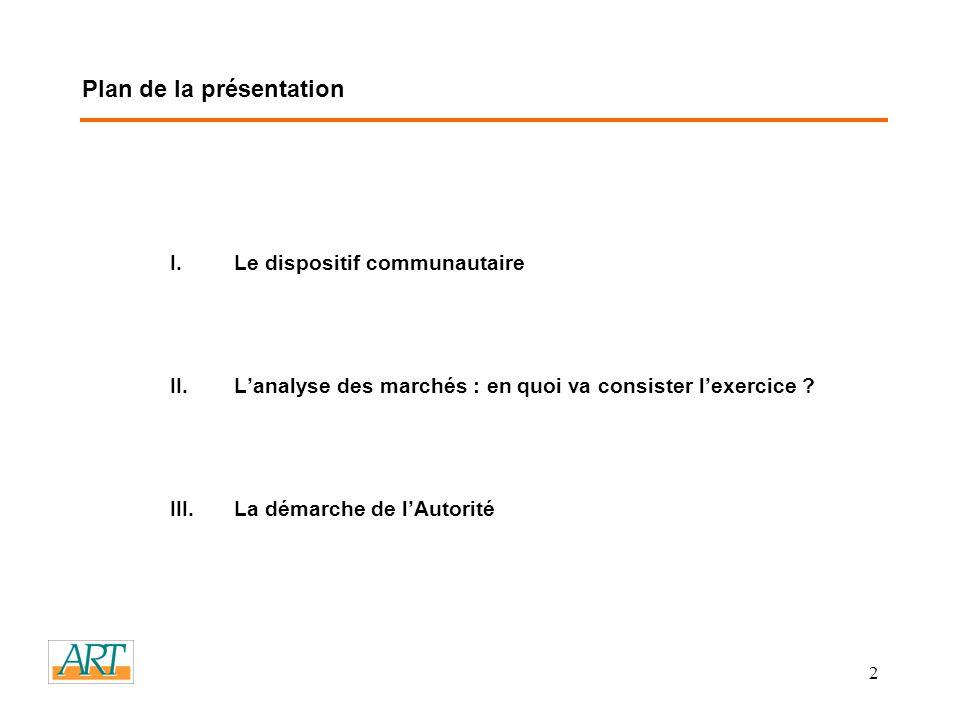 2 Plan de la présentation I.Le dispositif communautaire II.Lanalyse des marchés : en quoi va consister lexercice .