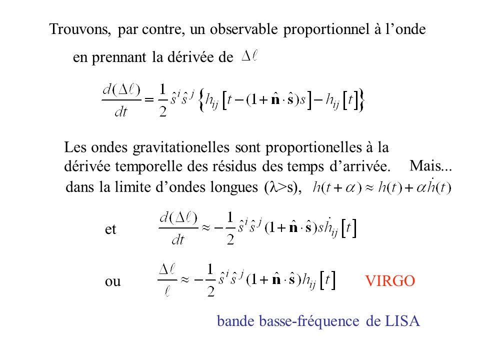 Trouvons, par contre, un observable proportionnel à londe Les ondes gravitationelles sont proportionelles à la dérivée temporelle des résidus des temp