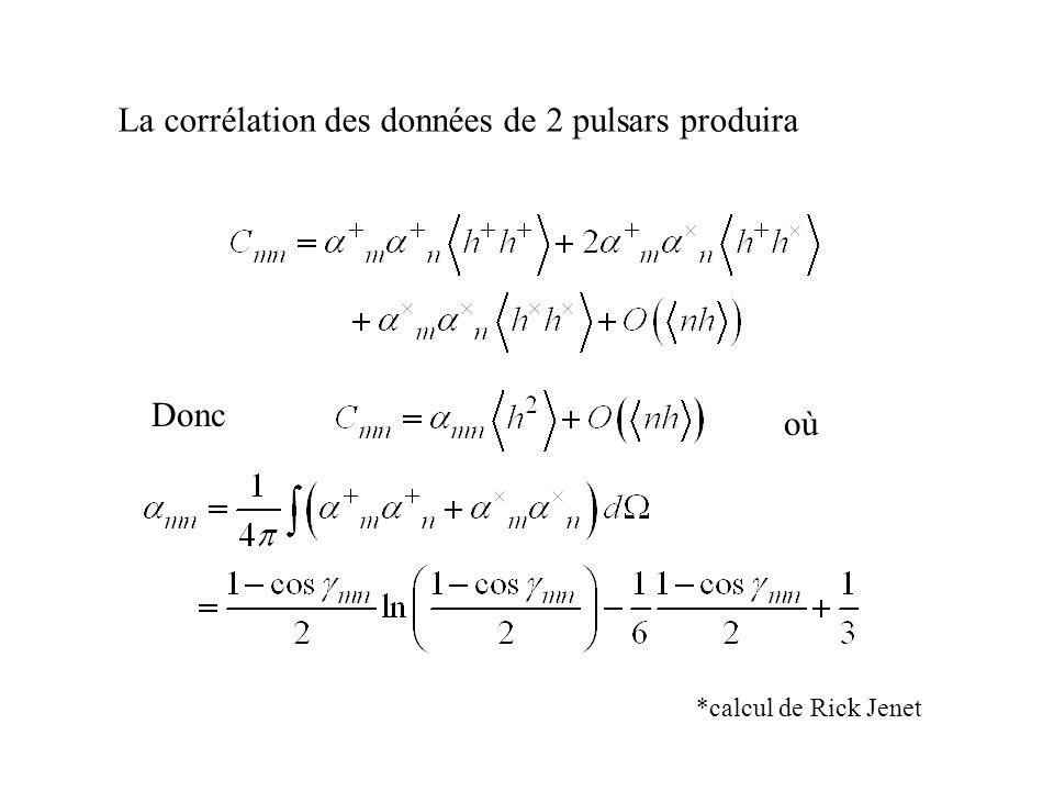 La corrélation des données de 2 pulsars produira Donc oùoù *calcul de Rick Jenet