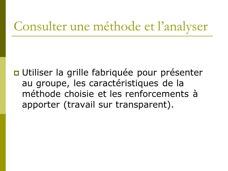 Consulter une méthode et lanalyser Utiliser la grille fabriquée pour présenter au groupe, les caractéristiques de la méthode choisie et les renforcements à apporter (travail sur transparent).