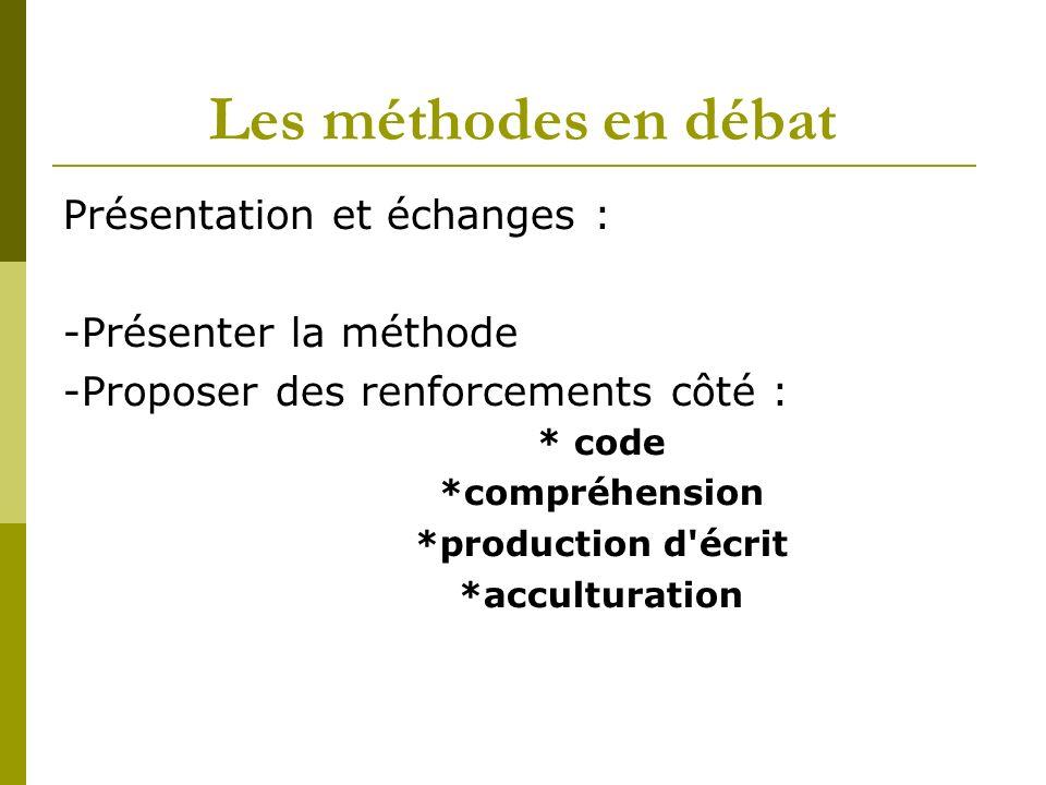 Les méthodes en débat Présentation et échanges : -Présenter la méthode -Proposer des renforcements côté : * code *compréhension *production d écrit *acculturation