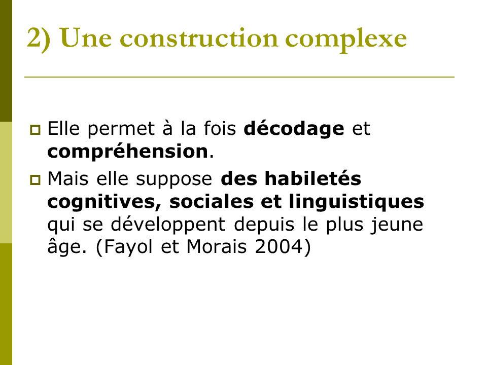 2) Une construction complexe Elle permet à la fois décodage et compréhension.