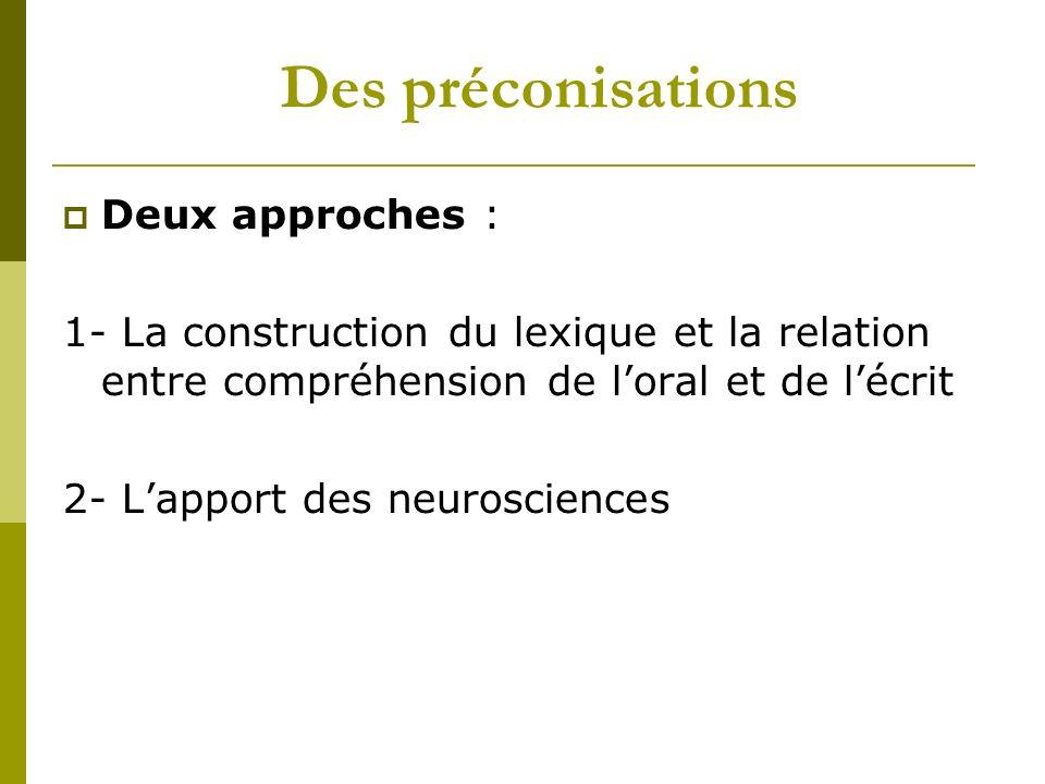 Des préconisations Deux approches : 1- La construction du lexique et la relation entre compréhension de loral et de lécrit 2- Lapport des neurosciences