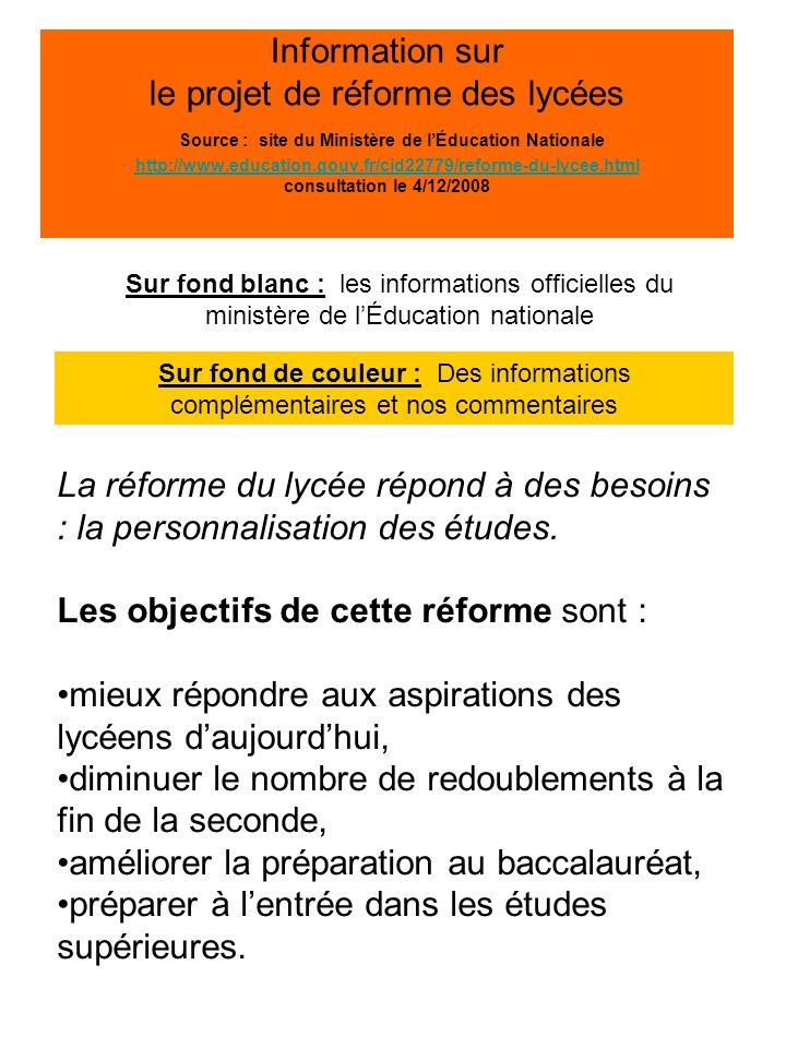 Information sur le projet de réforme des lycées Source : site du Ministère de lÉducation Nationale http://www.education.gouv.fr/cid22779/reforme-du-lycee.html consultation le 4/12/2008 http://www.education.gouv.fr/cid22779/reforme-du-lycee.html 2009 : nouvelle organisation de la classe de seconde La réforme a été engagée depuis juin dernier.