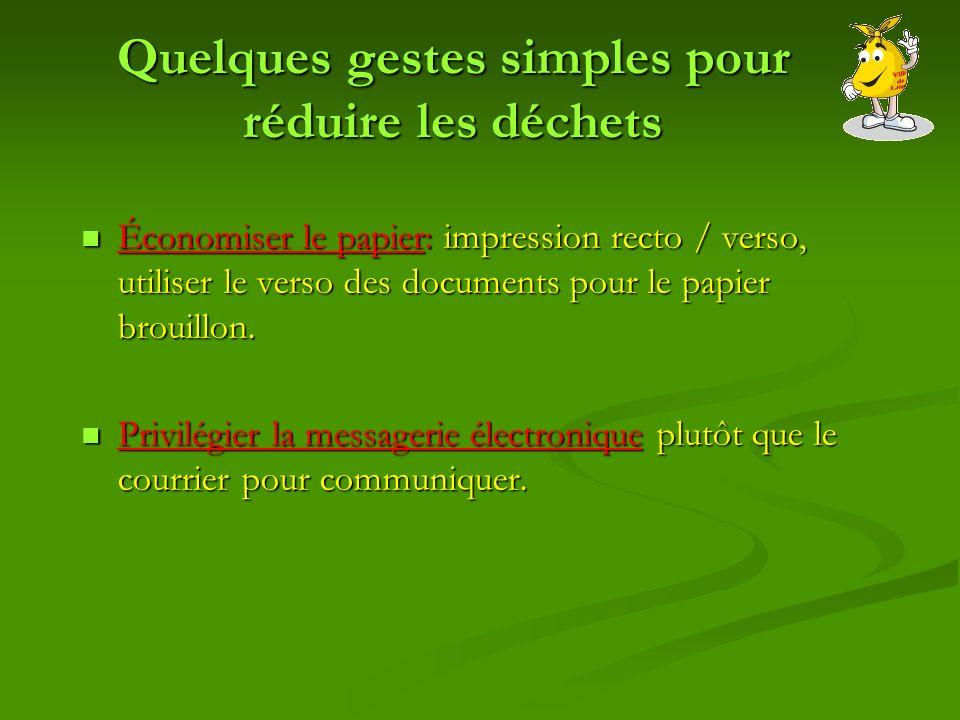 Quelques gestes simples pour réduire les déchets Économiser le papier: impression recto / verso, utiliser le verso des documents pour le papier brouillon.