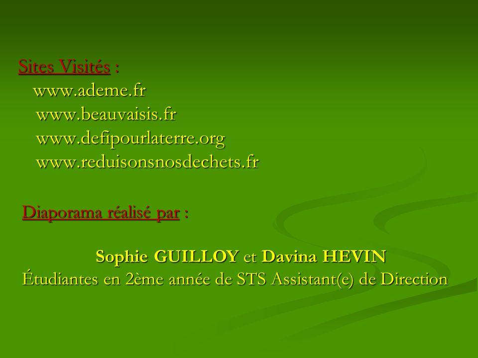 Sites Visités : www.ademe.fr www.ademe.frwww.beauvaisis.frwww.defipourlaterre.orgwww.reduisonsnosdechets.fr Diaporama réalisé par : Sophie GUILLOY et Davina HEVIN Étudiantes en 2ème année de STS Assistant(e) de Direction