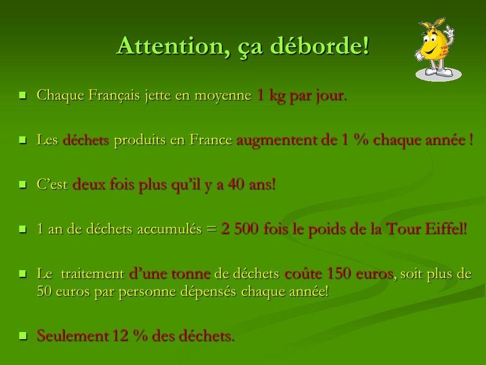 Attention, ça déborde! Chaque Français jette en moyenne 1 kg par jour. Chaque Français jette en moyenne 1 kg par jour. Les déchets produits en France