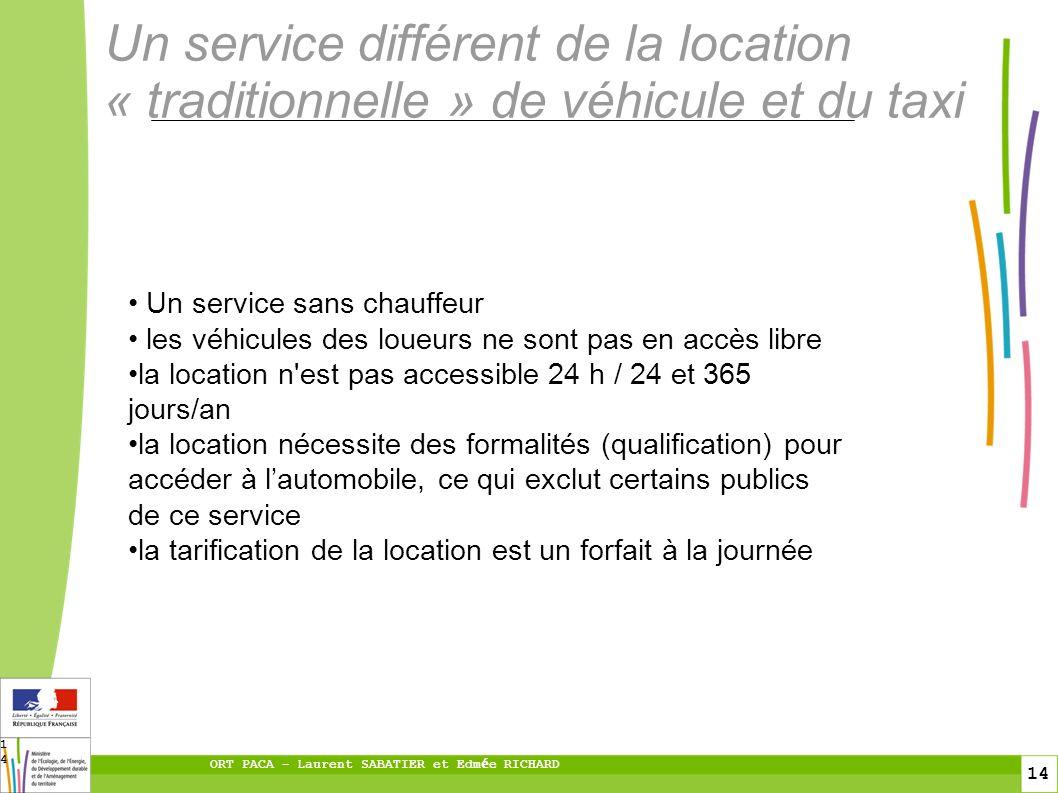 14 ORT PACA – Laurent SABATIER et Edm é e RICHARD 14 Un service différent de la location « traditionnelle » de véhicule et du taxi Un service sans cha