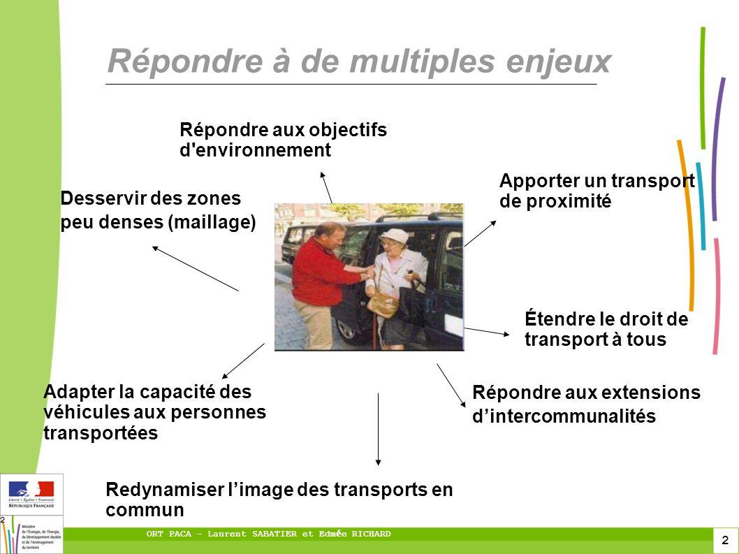 2 ORT PACA – Laurent SABATIER et Edm é e RICHARD 2 Répondre à de multiples enjeux Répondre aux objectifs d'environnement Apporter un transport de prox