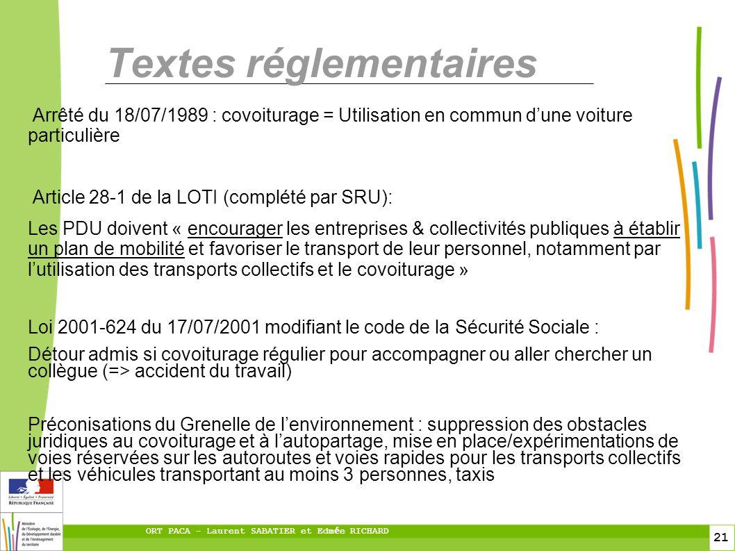 21 ORT PACA – Laurent SABATIER et Edm é e RICHARD Textes réglementaires Arrêté du 18/07/1989 : covoiturage = Utilisation en commun dune voiture partic