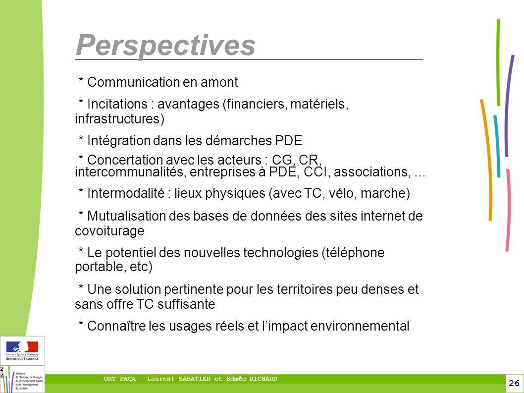 26 ORT PACA – Laurent SABATIER et Edm é e RICHARD 26 Perspectives * Communication en amont * Incitations : avantages (financiers, matériels, infrastru