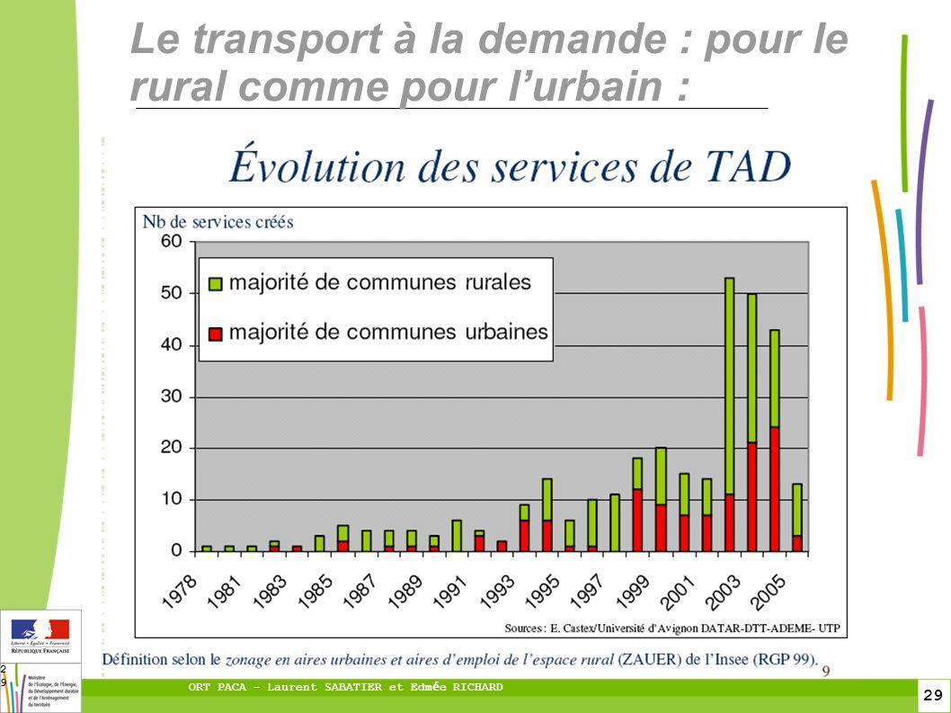 29 ORT PACA – Laurent SABATIER et Edm é e RICHARD 29 Le transport à la demande : pour le rural comme pour lurbain :