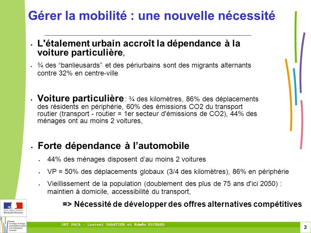 3 ORT PACA – Laurent SABATIER et Edm é e RICHARD 3 L'étalement urbain accroît la dépendance à la voiture particulière, ¾ des banlieusards et des périu