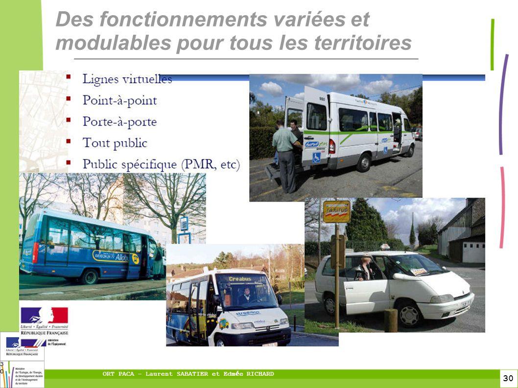 30 ORT PACA – Laurent SABATIER et Edm é e RICHARD 30 Des fonctionnements variées et modulables pour tous les territoires