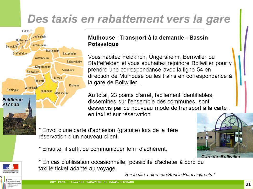 31 ORT PACA – Laurent SABATIER et Edm é e RICHARD 31 Des taxis en rabattement vers la gare * Envoi d une carte d adhésion (gratuite) lors de la 1ère réservation d un nouveau client.